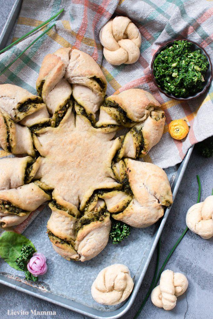 Sternbrot mit grüne Soße Kräutern - Das Highlight auf dem Brunch Tisch - Lievito Mamma